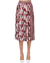 Prada Falda Plisada Envolvente Con Estampado - Rojo