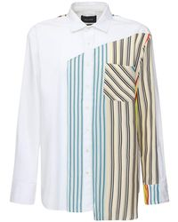 BOTTER Cotton Poplin Shirt W/striped Silk Panel - White