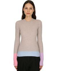 JW Anderson Merino Wool Rib Knit Jumper - Natural