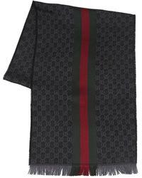 Gucci Logo Wool & Silk Scarf - Black