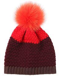 Etro - Knitted Beanie Hat W/ Fur Pompom - Lyst