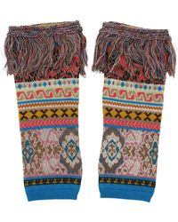 Etro Tricot Intarsia Fingerless Wool Gloves - Multicolor
