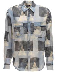 Giorgio Armani Рубашка Из Купро С Принтом - Серый