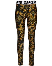 Versace Jeans Couture Printed Stretch Jersey Leggings - Black