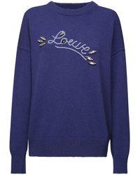 Loewe Свитер Из Шерстяного Трикотажа С Логотипом - Синий