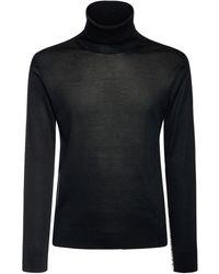 Versace Rollkragenpullover Aus Seidenmischstrick - Schwarz