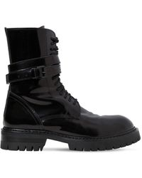 Ann Demeulemeester - 30mm Polished Leather Combat Boots - Lyst