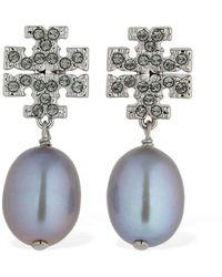 Tory Burch Kira Pavé Pearl Earrings - Metallic