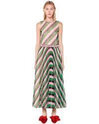 Vivetta Kleid Aus Tüll Mit Streifen Und Logogürtel - Grün