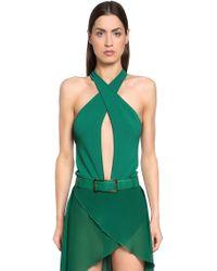 Elie Saab Crisscrossing Viscose Knit Bodysuit - Green