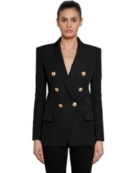 Balmain - Double-breasted Basketweave Cotton Blazer - Lyst
