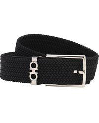 Ferragamo Logo Buckle Detail Woven Belt - Black