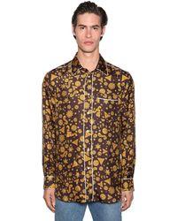 Versace Hemd Mit Druck Und Paspelierung - Braun