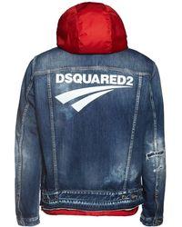 "DSquared² Gedruckte Jacke Aus Baumwolldenim ""dan"" - Blau"