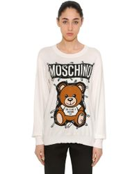 Moschino - Safety Pin Bear Intarsia Cotton Sweater - Lyst
