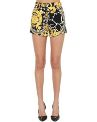 Versace Shorts Aus Baumwolldenim Mit Druck - Mehrfarbig