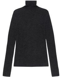 Ganni Recycled Wool Knit Turtleneck Sweater - Black