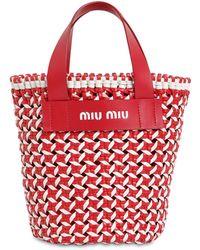 Miu Miu Borsa A Secchiello In Ecopelle Con Intreccio Vichy - Rosso