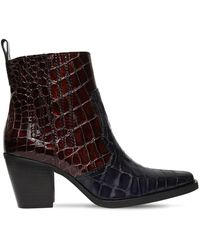 Ganni - 70mm Callie Croc Embossed Leather Boots - Lyst