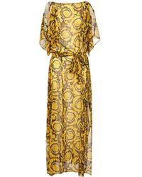 Versace Платье Из Шелкового Жоржета - Металлик