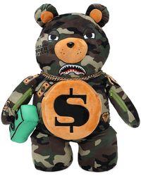 Sprayground Camo Tattooed Money Bear Backpack - Multicolour