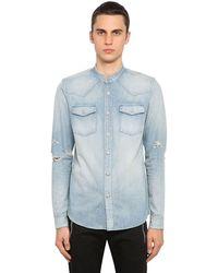 Balmain Hemd Aus Baumwolldenim Mit Stickerei - Blau