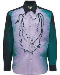 Marni Рубашка Из Хлопка Поплин С Принтом - Синий