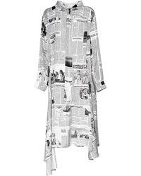 Balenciaga Платье Из Легкого Атласа С Принтом - Белый