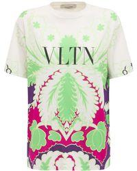 """Valentino - Camiseta De Algodón Con Logo """"vltn"""" Estampado - Lyst"""