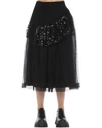 Simone Rocha スパンコールフリルミディスカート - ブラック