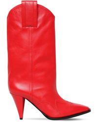 Nina Ricci 90mm Leather Cowboy Boots - Red