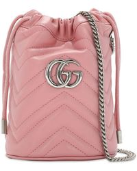 Gucci ピンク ミニ GG Marmont バケット バッグ