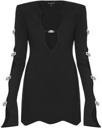 Mach & Mach Vestido Mini De Jersey Stretch - Negro
