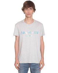 Balmain T-Shirt In Jersey Di Cotone Con Logo - Multicolore