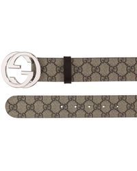 Gucci 40mm Breiter Gürtel Aus Leder Mit Logo - Natur