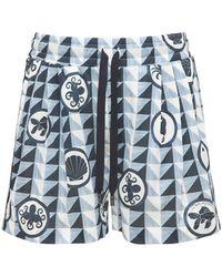 Dolce & Gabbana Shorts Aus Baumwollpopeline Mit Geometriedruck - Blau