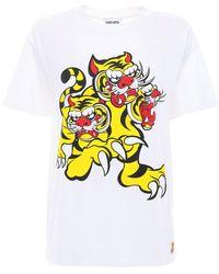 KENZO Bedrucktes T-shirt Aus Jersey - Weiß