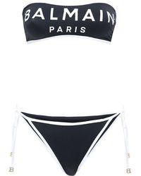 Balmain Bandeau-bikini Mit Logo - Schwarz
