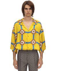 Gucci Oversized Harness-print Silk-twill Shirt - Yellow