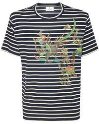 Etro Striped & Printed Cotton T-shirt - Blue