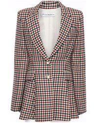 JW Anderson Wool Plaid Peplum Tuxedo Jacket - Multicolour