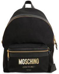 Moschino Medium Rucksack Aus Nylon Mit Couture-logo - Schwarz