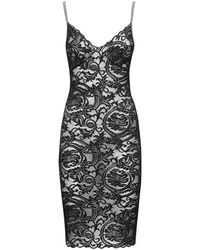 Versace Greek Lace Micro Strap Slit Dress - Black