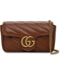Gucci Gg Marmont レザーバッグ - ブラウン