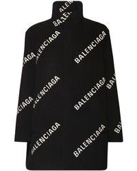 Balenciaga All Over Logo Wool Blend Cocoon Coat - Black