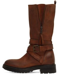 Strategia 80mm Leather Biker Boots - Brown