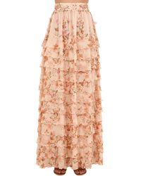 Luisa Beccaria Printed Tiered Silk Georgette Skirt - Pink