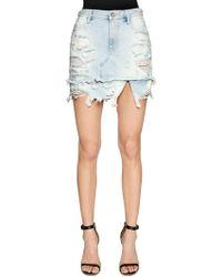 DIESEL | Destroyed Cotton Denim Skirt | Lyst