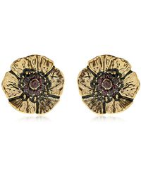 Alcozer & J - Cloe Clip-on Earrings With Garnets - Lyst