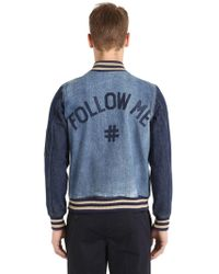 Ports 1961 - Follow Me Two Tone Denim Bomber Jacket - Lyst